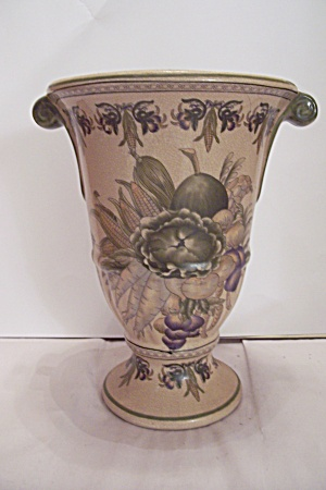 Tan Porcelain Vegetable Decorated Vase/urn
