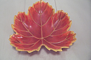 Autumn Red Hand Painted Ceramic Art Leaf Shaped Dish