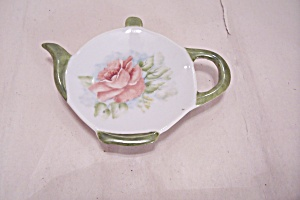 Hand Painted Pink Rose Teapot Shaped Spoon Rest