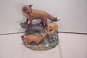 Porcelain Fox Family Figurines