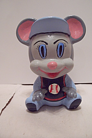 Hand Painted Ceramic Art Mouse Baseball Player