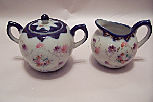 Blue & Flower Decorated Sugar And Creamer Set