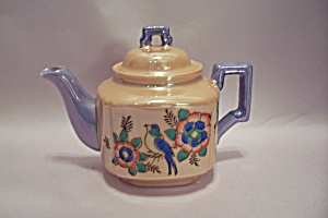 Japanese Hand Painted Peach & Purple Lustre Ware Teapot