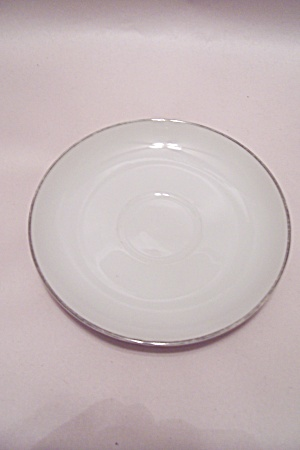 Silver White Pattern Fine China Saucer