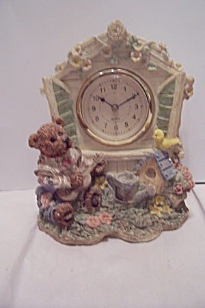 Composition Bear Decorated Battery Powered Clock