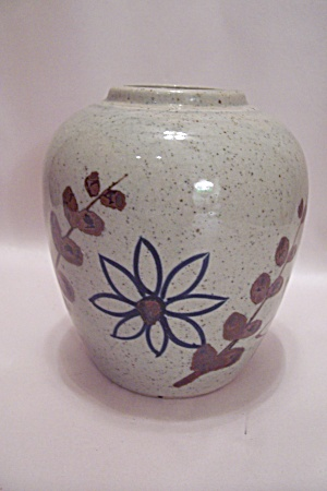 Yamayo Gray Pottery Hand Painted Floral Decorated Vase