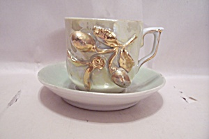 German Opalescent Cup & Saucer Set