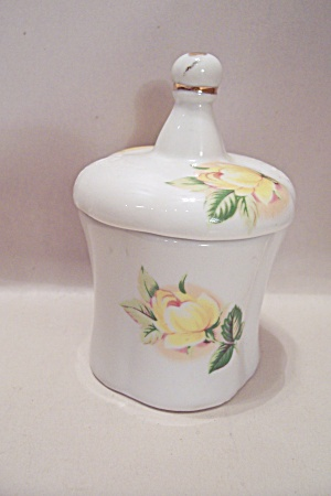 China White Toothpick Holder With Floral Motif