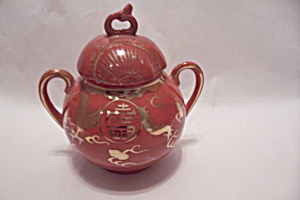 Occupied Japan Dragon Ware Orange Sugar Bowl