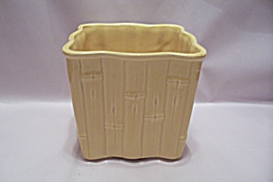 Mccoy Pottery Yellow Bamboo Pattern Square Planter