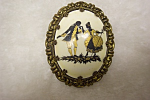 West German Hand Painted Porcelain Brooch