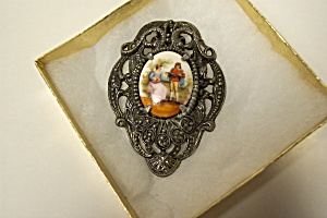 Antique Silver Porcelain Plaque Dress Clip