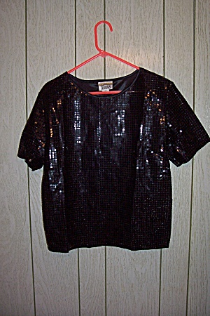 Black Pull Over Decorated With Black Round Sequins