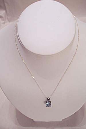 Stunning Blue Topaz & Diamond Necklace