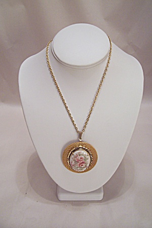 Goldtone Necklace With Porcelain Rose Motif Drop