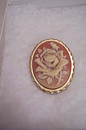 Carved Rose Cameo Brooch