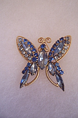 Light & Dark Blue Rhinestone Butterfly Brooch/pin
