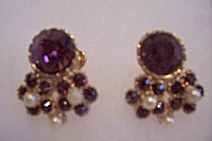 Amethyst Rhinestone & Seed Pearl Screw On Earrings