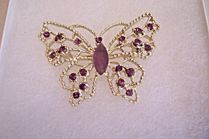 Gold Plated & Amethyst Rhinestone Butterfly Brooch