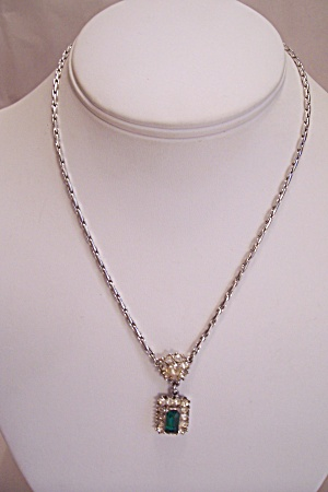 Silver Link & Rhinestone Necklace