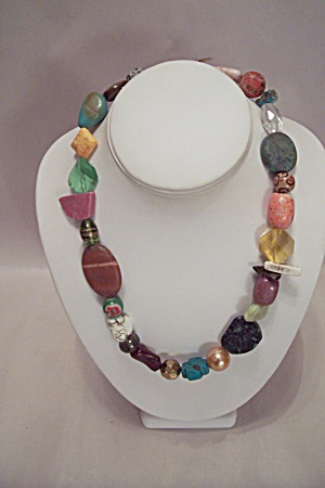 Multi-colored & Shaped Polished Stones, Etc. Necklace