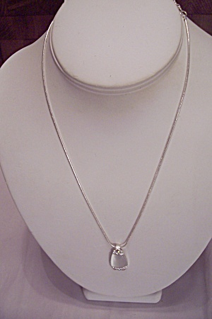 Fine Silver Chain Necklace With Rhinestone Drop