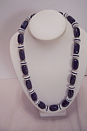 Blue Bead & Blue & White Disk Necklace
