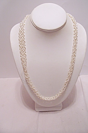 Simulated Plastic Pearl Rope Style Necklace