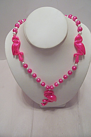 Pink & White Bead Flamingo Mardi Gras Necklace