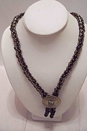 Southwestern Black & Gold Cloth & Beads Necklace