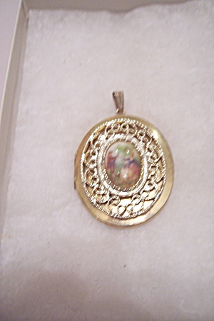 Goldtone Filigree & Porcelain Photo Pendent