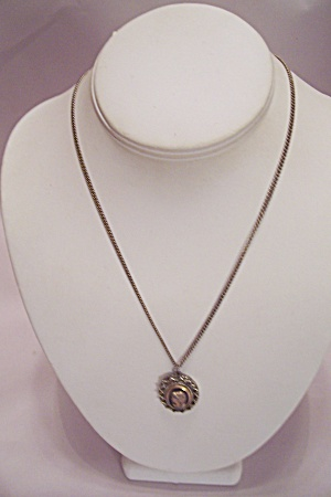 Silver Chain Necklace With Cameo Drop