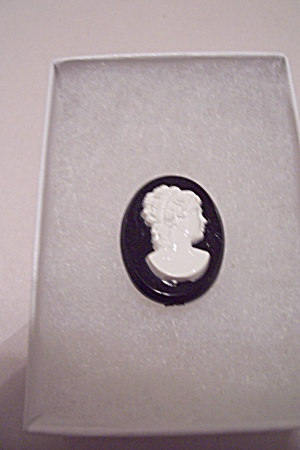 White Cameo On Black Background Pin