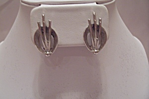 Pair Of Silvertone Art Deco Style Clip-on Earrings
