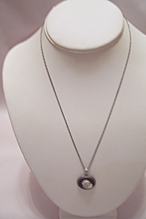 Silvertone Chain Necklace W/ White On Black Cameo Drop
