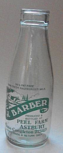 J Barber Peel Farm Astbury Milk Bottle Phone Congleston