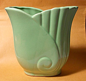 Vintage 1950`s Art Nouveau Green Planter Mint