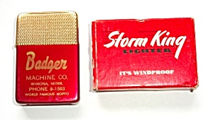Nos 1970`s Storm King Adv. Badger Machinne Co. Lighter