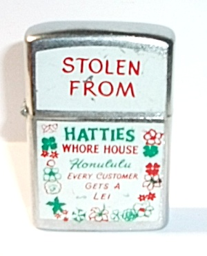 Vintage 1980`s Hatties Whore House Honululu Lighter