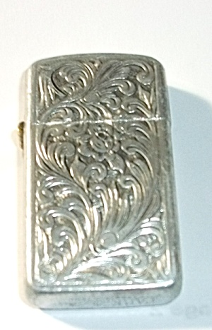 1970`s Ladies Slim Park Floral Aluminum Lighter