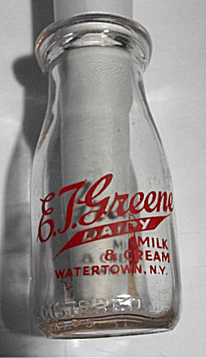 E.t. Greene Dairy 1/2 Pt Milk & Cream Milk Watertown Ny
