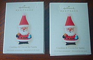 Two 2008 Hallmark Cookies & Cocoa For Santa Ornaments