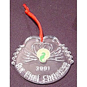 Waterford 2001 Our 1st Christmas Swans Ornament Mib New