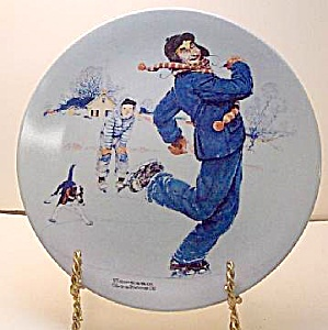 Norman Rockwell Plate 'ice Skating With Grandpa' 2004