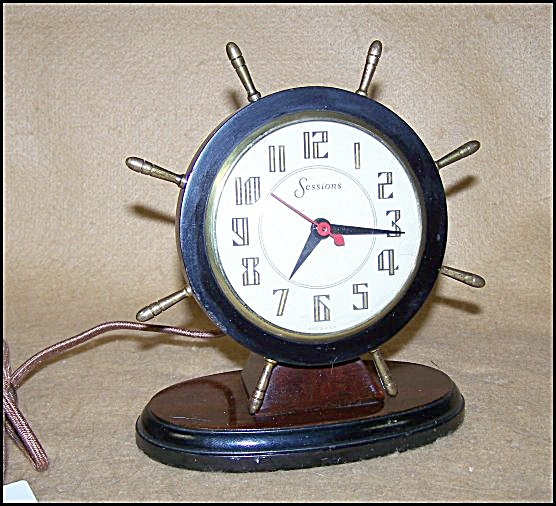 Vintage 1940's Sessions Shipswheel Clock W/cloth Cord