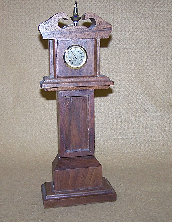 Handmade Mini Grandfather Walnut Watch Clock