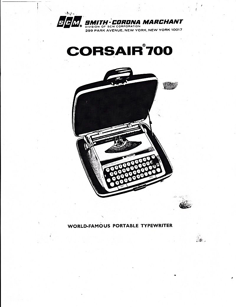 Smith-corona Corsair700 Typewrtr-downloadable E-manual