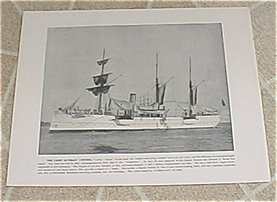 1898 Naval Ship Antique Print, Uss Petrel, Uss Columbia Marine Guard