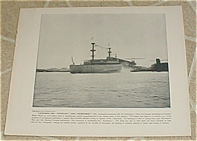 1898 Naval Ship Print, Uss Kentucky, Uss Kearsarge, Spanish Am War
