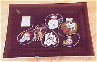 1962 Coats & Clark 150th Anniversary Decorated Glass Tray
